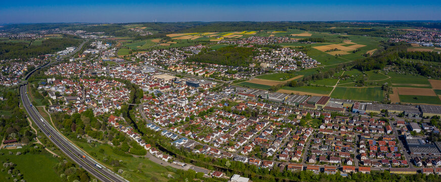 Aerial view of the city Faurndau and Uhingen in spring during the coronavirus lockdown.