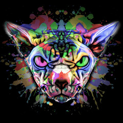 grunge background with graffiti and painted cat