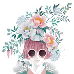 Wall Mural - Vector illustration of a short-haired girl with flowers on her head, Korean traditional container decorating with flowers. Design for picture frame, poster, greeting card, and invitation