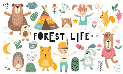 Estores personalizados infantiles con tu foto Vector set of woodland animals, kids characters, forest elements and plants in scandinavian style. Kids illustrations isolate on white background. Cute collection for nursery design.