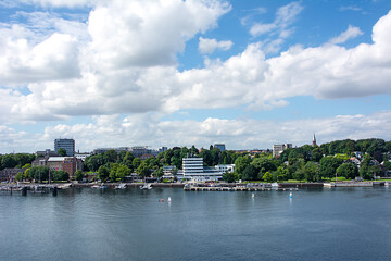 Harbor and quay on the Baltic Sea in Kiel, Germany.