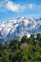 Green forest, snowy mountain peaks and sky with clouds, Wetterstein Garmisch-Partenkirchen Germany.