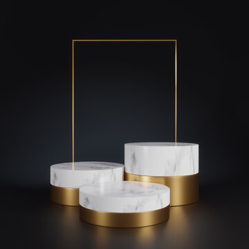 3d rendering of white marble pedestal isolated on black background, gold square frame, three cylinder blocks, abstract minimal concept, blank space, simple clean design, luxury minimalist mockup
