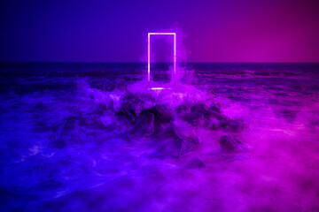 Strange fluorescent light layout with glowing neon frame,door and smoke on vibrant sea background.Copy space for poster, banner, invitation,Fairy mysterious, mystical Illustration. Paranormal portal
