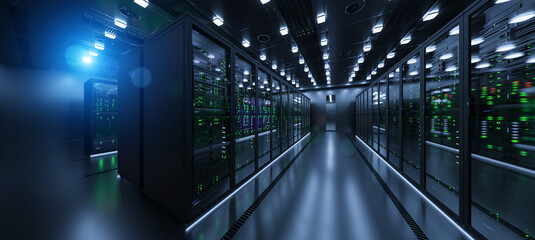 Data server rack center. Backup cloud service