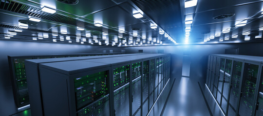 Shot of Data Center With Multiple Rows of Fully Operational Server Racks. Modern Telecommunications, Cloud Computing, Artificial Intelligence, Database, Super Computer Technology Concept image