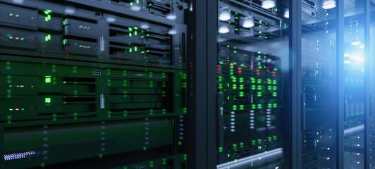 Server in datacenter. Cloud computing data storage