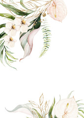 Watercolor tropical floral border - green, gold, blush leaves & flowers . For wedding stationary, greetings, wallpapers, fashion, background.