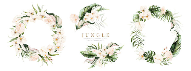 Watercolor floral tropical set. Frame, bouquets, wreath. Flower and green gold leaf branches bouquets collection, for wedding stationary, greetings, wallpapers, fashion, background.