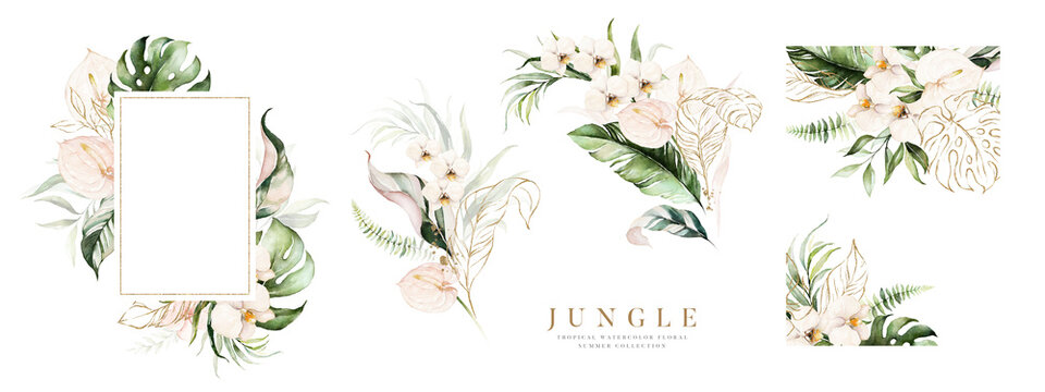 Watercolor floral tropical set. Frame, bouquets, border. Flower and green gold leaf branches bouquets collection, for wedding stationary, greetings, wallpapers, fashion, background.