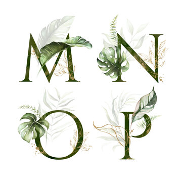 Tropical Green Gold Floral Alphabet Set - letters M, N, O, P with green gold leaves. Collection for wedding invites decoration, birthdays & other concept ideas.