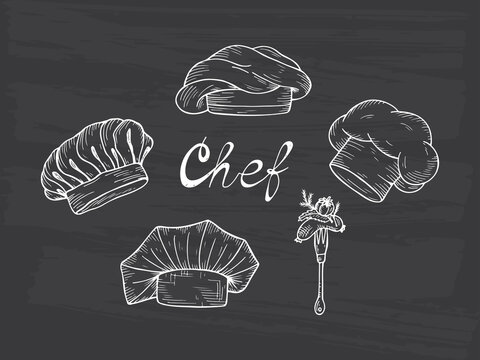 Set of Hand drawn Chef Hats and Caps in different shapes