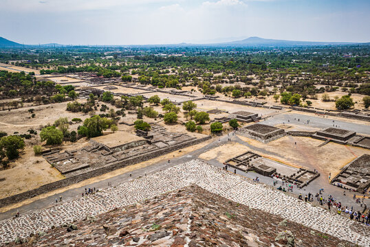 View from the top of the Pyramid of the Sun at Teotihuacán archaeological site located about 40 km from Mexico City.