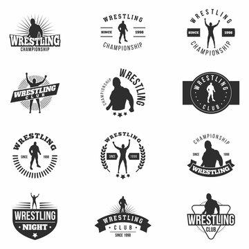 Wrestling badges set. Retro. Monochrome martial arts templates for logo, labels, sticker and more. Vector