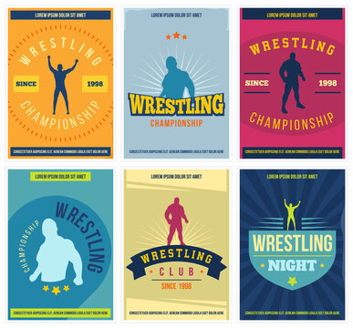 Wrestling posters set. Retro. Colorful martial arts templates for print, banner, sticker, cover and more. Vector.