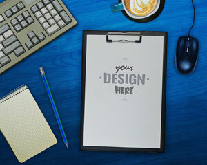 Technology, flat lay office desk mockup with space at the organizer folder to add your own design
