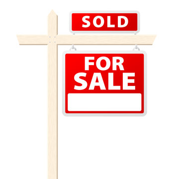 Basic house for sale with Sold above sign. Vector illustration