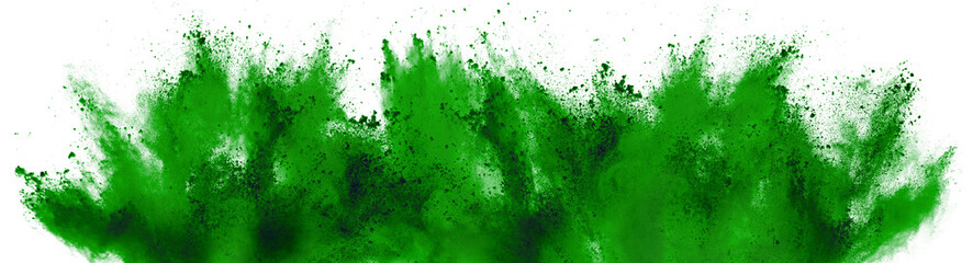 bright green holi paint color powder festival explosion isolated white background. industrial print...