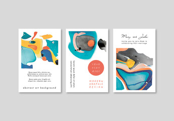 Set of Poster Card Layouts with Artistic Background