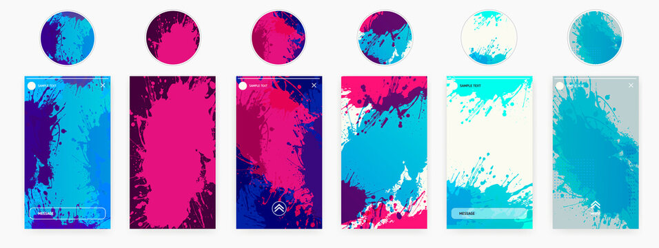 Abstract design templates for social media banner. Story highlights covers icons.