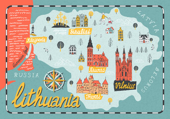 Cartoon map of Lithuania. Travel and attractions of Eastern Europe Fotobehang