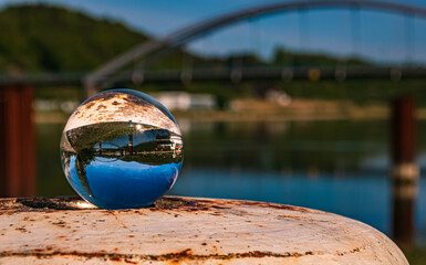 Crystal ball landscape shot at Vilshofen, Danube, Bavaria, Germany