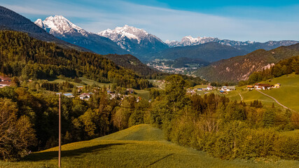 Beautiful alpine spring view near Berchtesgaden, Bavaria, Germany with the famous Watzmann and Hochkalter summits in the background