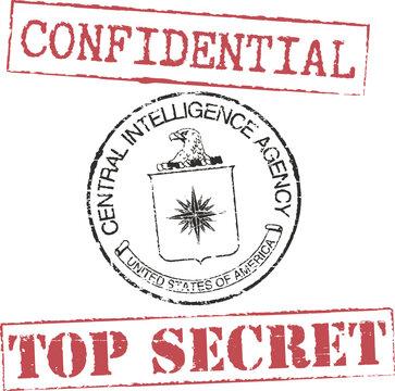 Grunge stamps 'CIA', 'confidential', 'top secret'