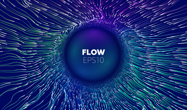 Wave flow. Technology digital wave background concept. Concentric data flow. Big data abstract vector background.
