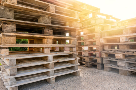 Huge piles of different type of pallet