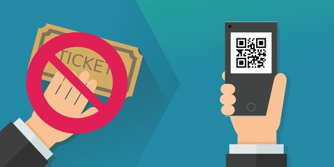 Passer du billet physique au E-billet (flat design)