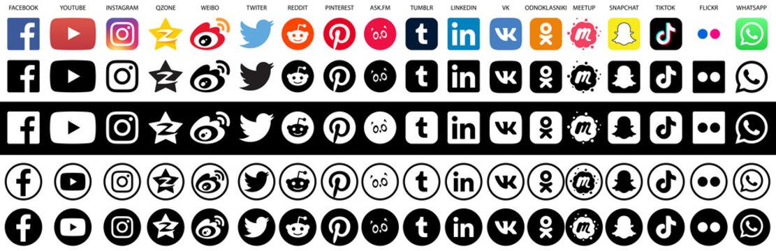 Collection of popular social media vector logos. Facebook Youtube Instagram Qzone Weibo Twitter Reddit Pinterest Ask.fm Tumblr Linkedin VK Odnoklasniki Meetup Snapchat TikTok Flickr Whatsapp.