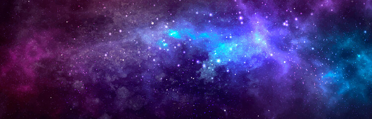 Vector cosmic watercolor illustration. Colorful space background with stars