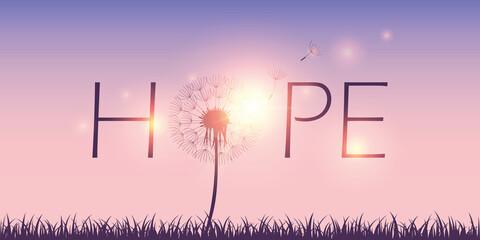 Fototapeta hope typography with dandelion on sky background vector illustration EPS10 obraz