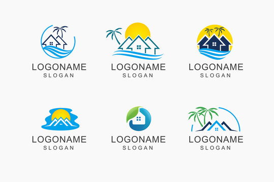 home realty with line, sun, coconut tree, palm , beach, and roof represented fun, unique and relax realty vector logo design