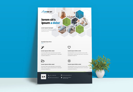 Hexagon Business Flyer Layout with Green Blue Accent