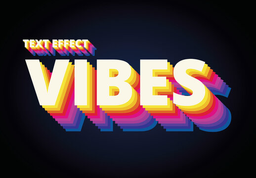Vibes 80's Text Style Effect