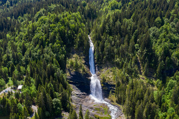 Fototapeten Wasserfalle Aerial view of Cascade du Rouget (Rouget Waterfalls) in Sixt-fer-a-cheval in Haute-Savoie France