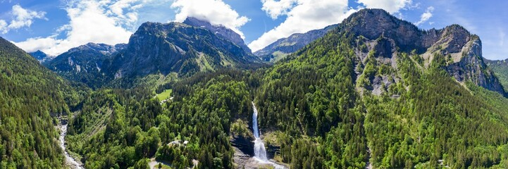 Aerial panoramic view of Cascade du Rouget (Rouget Waterfalls) in Sixt-fer-a-cheval in Haute-Savoie France Wall mural