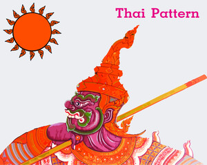 Thai Pattern Vector Illustration. Giant striped picture holding a baton.