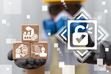 Unlock Industrial Concept. Industry Recovery. Open Manufacturing.