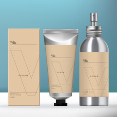 Vector Aluminum Beauty Packaging Set with Screw Cap Aerosol Spray Bottle, Metallic Silver Tube & Carton Box Design.