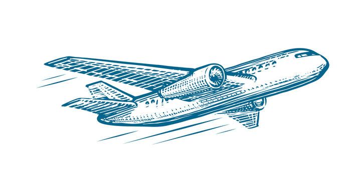 Flying airplane sketch. Air transportation, airline, retro plane vector illustration