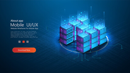 Big data analysis processing big data computing, information flow,digital science lab, data center. Modern Server room isometric vector, futuristic technology of data protection. Web hosting banner Wall mural