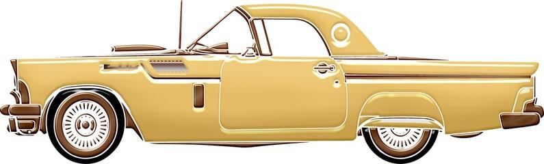 Fototapeta Illustration of a beige vintage car isolated on a white background obraz