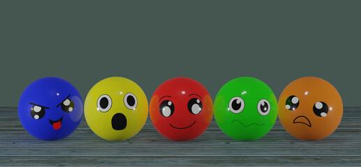 lustige Emoticons in bunten Farben. 3d rendering