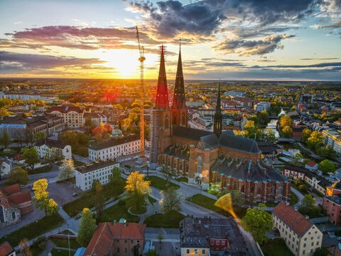 Uppsala Cathedral in Uppsala, Sweden at Sunset