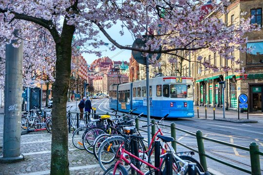 Tram in Gothenburg, Sweden during the Spring