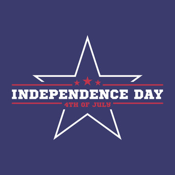 4th of July. Independence Day concept. White star and quote on blue background. Vector illustration.