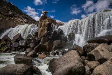 beautiful waterfall on the rocks without people